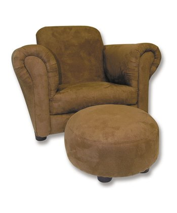 Brown Club Chair & Ottoman