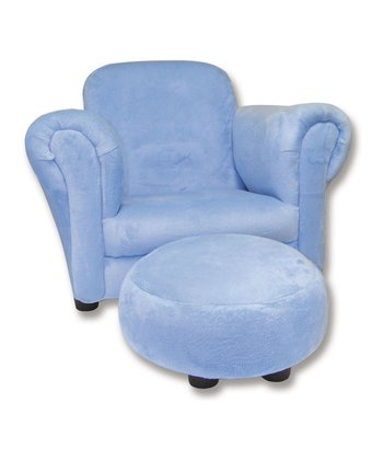 Blue Velour Club Chair & Ottoman