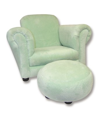 Sage Velour Club Chair & Ottoman