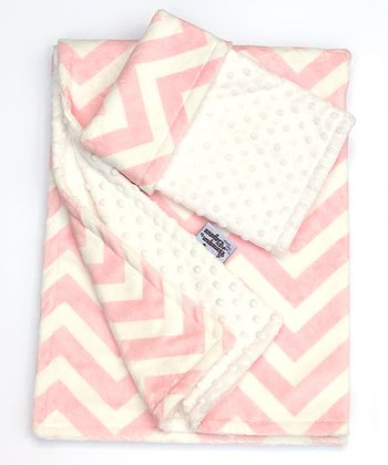 White Zigzag Stroller Blanket & Security Blanket