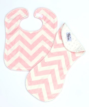 White Zigzag Burp Cloth & Bib