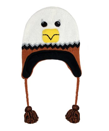 White & Brown Eagle Wool Pom-Pom Beanie