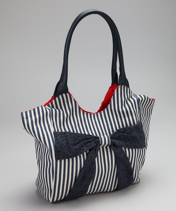 Navy & White Bow Tote