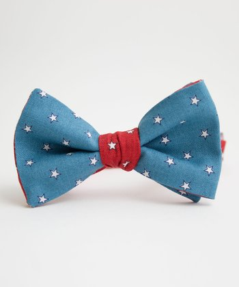 Blue & Red Uncle Sam Stars Bow Tie