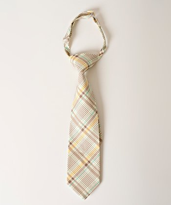 Yellow & Gray Plaid Tie