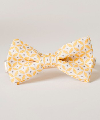 Yellow & Gray Circle Bow Tie