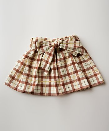 Brown & Khaki Plaid Cooper Skirt - Infant