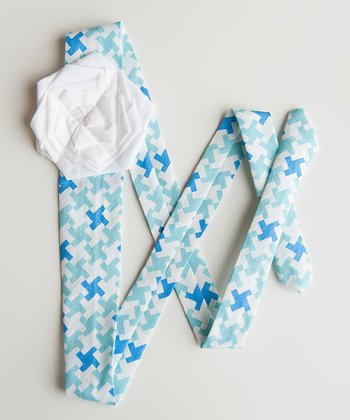 Blue & White Houndstooth Miles Sash