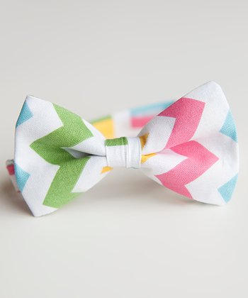 Blue & Yellow Spring Zigzag Bow Tie