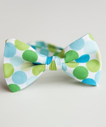 Blue & Green Polka Dot Bow Tie