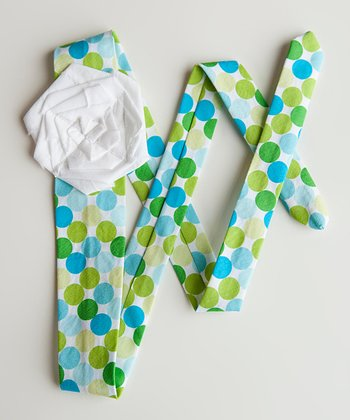 Blue & Green Polka Dot Sash