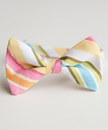 Pink & Orange Stripe Bow Tie