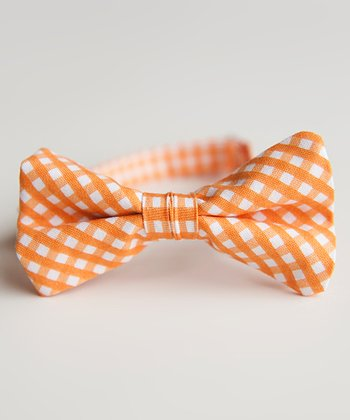 Orange Gingham Bow Tie