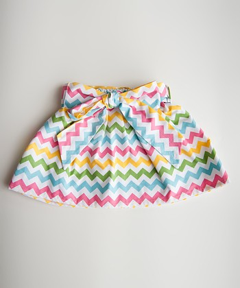 Blue & Yellow Spring Chevron Skirt - Infant, Toddler & Girls
