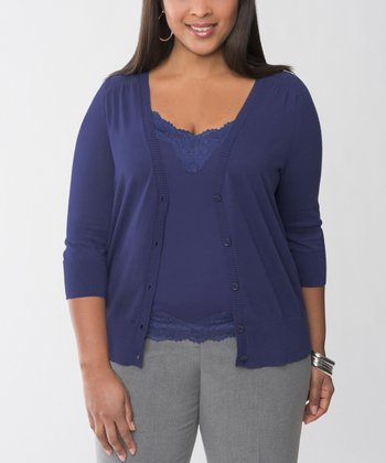 Blue Plus-Size Cardigan