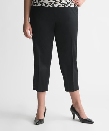 Black Sateen Plus-Size Capri Pants