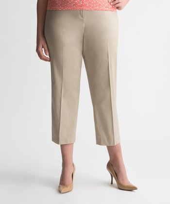 Humus Sateen Plus-Size Capri Pants