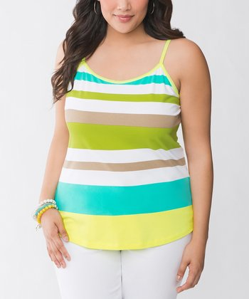 Bright Kiwi Stripe Plus-Size Camisole