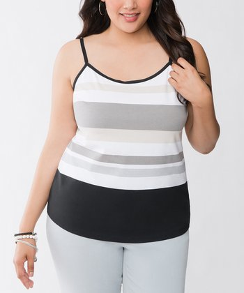 Black Stripe Plus-Size Camisole