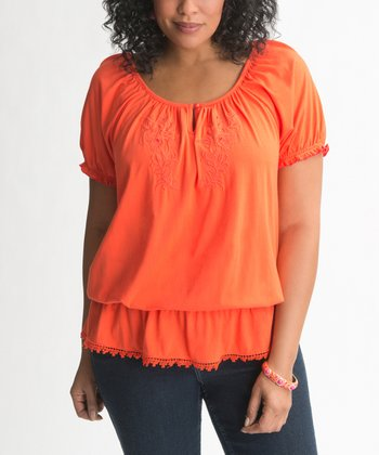 Flame Peplum Plus-Size Peasant Top