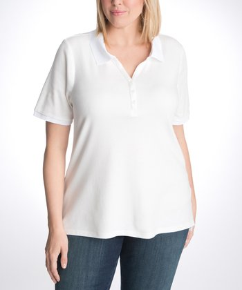 White Plus-Size Polo