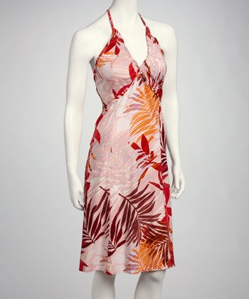Red & Orange Foliage Halter Dress