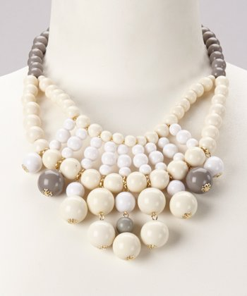 Gray & Cream Bead Bib Necklace