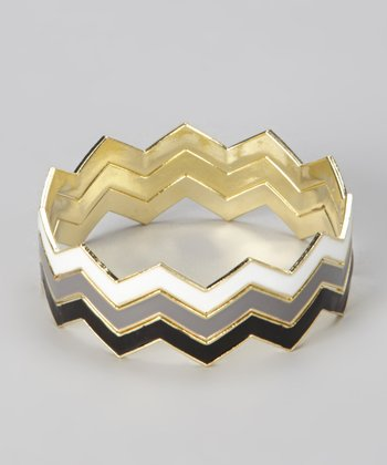 White, Gray & Black Zigzag Bracelet Set