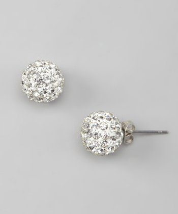 Clear Rhinestone Disco Ball Stud Earrings