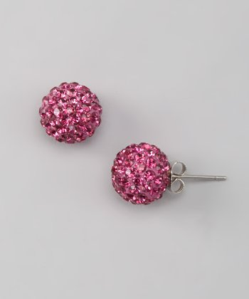 Hot Pink Rhinestone Disco Ball Stud Earrings