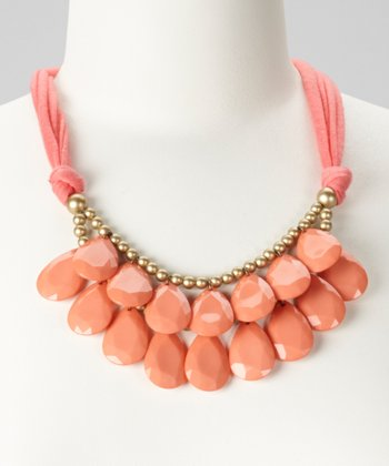 Coral Teardrop Bib Necklace
