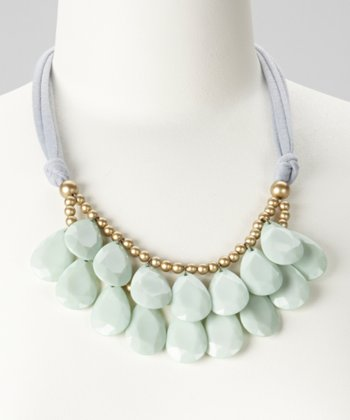 Mint & Gray Teardrop Bib Necklace