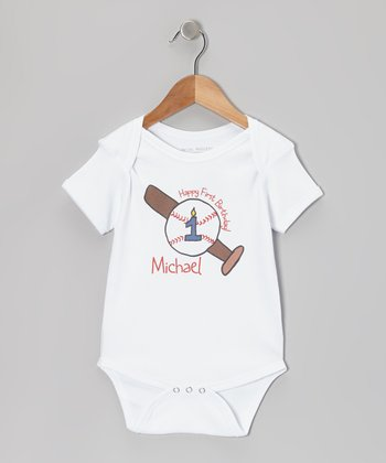 White 'Happy First Birthday' Personalized Bodysuit - Infant
