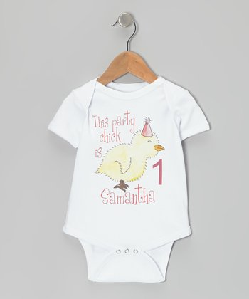 White 'Party Chick is 1' Personalized Bodysuit - Infant