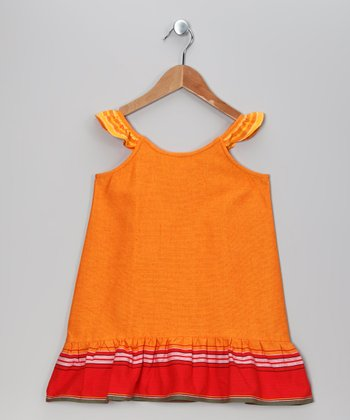 Orange Leyla Angel-Sleeve Dress - Toddler & Girls