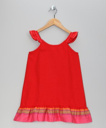 Red Leyla Angel-Sleeve Dress - Toddler & Girls