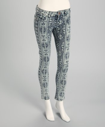 Light Blue Bleached Aztec Skinny Jeans