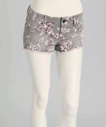 Gray Rinse Denim Floral Shorts