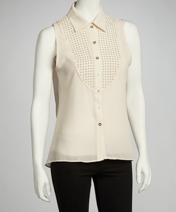 Ivory Studded Button-Up Top