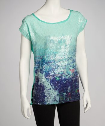 Mint Sequin Cityscape Top