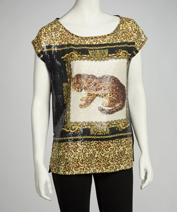 Black & Gold Sequin Leopard Top
