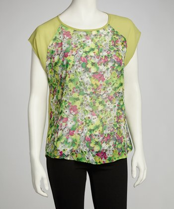 Green Floral Studded Top