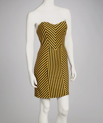 Black & Yellow Strapless Dress