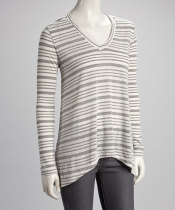 White & Black Stripe V-Neck Top