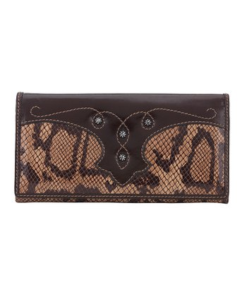 Chocolate & Tan Snakeskin-Embossed Flap Wallet
