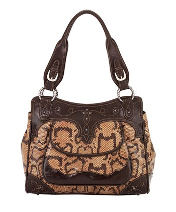 Chocolate & Tan Snakeskin-Embossed Briefcase Tote