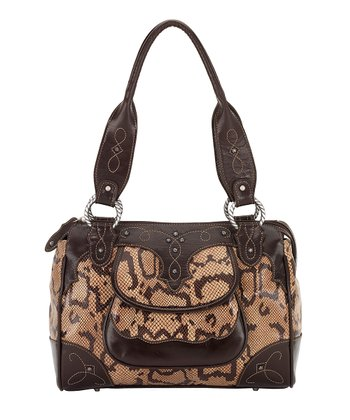 Chocolate & Tan Snakeskin-Embossed Tote