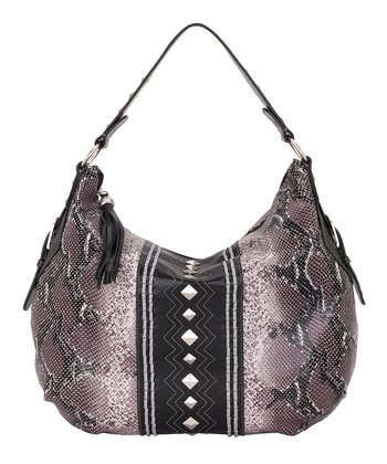 Plum & Black Python-Embossed Hobo