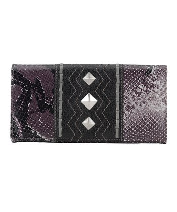Plum & Black Python-Embossed Flap Wallet