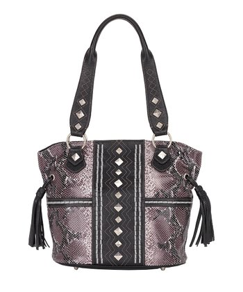 Plum & Black Python-Embossed Bucket Bag
